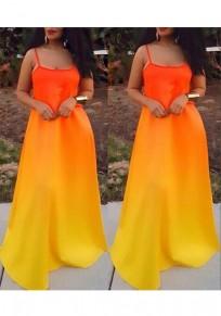 Yellow Orange Color Block Draped Gradient Color Spaghetti Strap Bohemian Party Maxi Dress