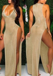 Golden Draped Thigh High Side Slits Sheer Deep V-neck Cocktail Party Maxi Dress
