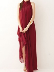 Red Draped Bow Halter Neck Going out Party Beach Maxi Dress