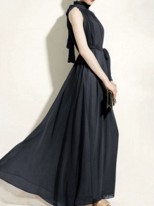 Black Draped Bow Halter Neck Going out Party Maxi Dress
