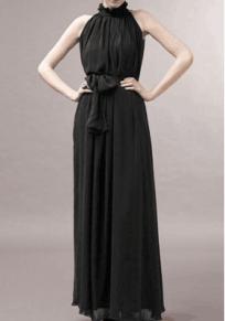 Robe maxi drapé noeud papillon licou à l'extérieur noir