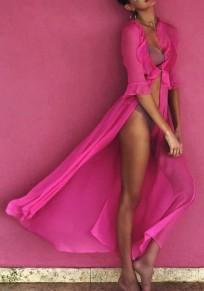 Rose Carmine Ruffle Rhinestone Deep V-neck Cover-Up Bikini Smock Bohemian Chiffon Maxi Dress