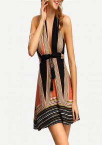 Black Geometric Drawstring Backless Bodycon Going out Midi Dress