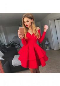 Mini-robe tutu plissé épaules fendues décolleté en coeur manches longues élégant de cocktail rouge