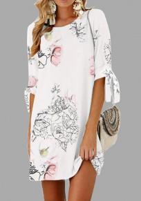 Mini robe cordon de serrage fleuri col rond manchon de coude blanc