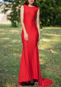 Red Patchwork Sequin Grenadine Draped Bow Backless Formal Banquet Elegant Party Maxi Dress