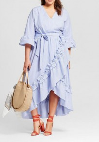 Blue Striped Ruffle Irregular Sashes Plus Size High-Low Bell Sleeve Casual Maxi Dress