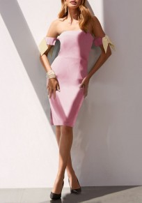 Pink Bow Off Shoulder Backless Slit Sweet Mini Dress