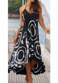 Black Floral Print Draped Halter Neck Backless Party Maxi Dress