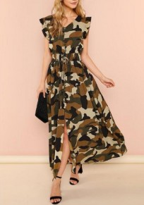 Camouflage Print Sashes Single Breasted Slit Ruffle High Waisted Deep V-neck Casual Maxi Dress