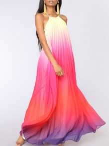 Red-Yellow Patchwork Pleated Gradient Color Maternity Halter Neck Tie Dye Bohemian Beach Party Maxi Dress