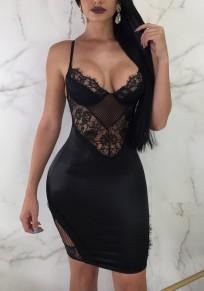 Midi-robe dentelle découpess bretelle dos nu v-cou clubwear parattacher noir