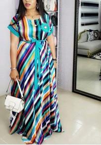 Blue Striped Appliques Sashes Draped Rainbow High Waisted Elegant Beachwear Party Maxi Dress