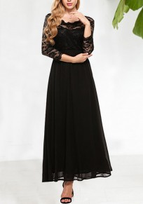 Black Draped Lace 3/4 Sleeve Banquet Elegant Party Maxi Dress
