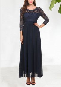 Navy Blue Draped Lace 3/4 Sleeve Banquet Elegant Party Maxi Dress