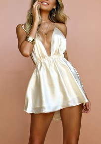 Golden Draped Spaghetti Strap Backless Lace-up Deep V-neck Party Mini Dress