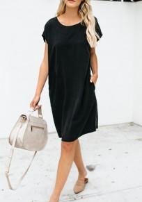 Schwarz Taschen Rundhals Kurzarm Beiläufige Midikleid T-Shirt Kleid Party Sommerkleid