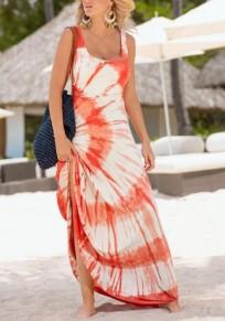 Orange Blumendruck Drapierte Tie Dye U-Ausschnitt Ausgehen Strand Maxikleid