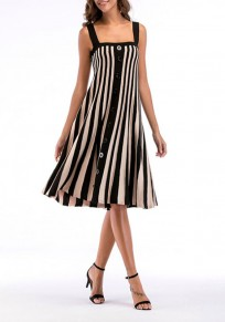 Black Striped Single Breasted Shoulder Strap Going out Midi Dress