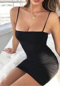 Mini robe mode bretelle sans manches volantées noir