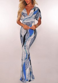 Blue Floral Print Draped Backless Deep V-neck Prom Evening Party Elegant Maxi Dress