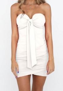 White Bow Bodycon Party Going out Sweet Mini Dress