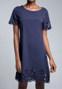 Blue Cut Out Short Sleeve Office Worker/Daily Mini Dress