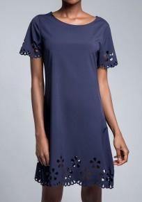 Mini robe découpesr sans manches courtes employé de bureau / quotidien bleu