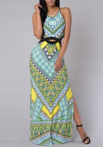 Green Tribal Print Draped Cut Out Slit Halter Neck Flowy Bohemian Beachwear Maxi Dress