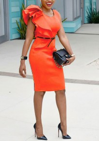 Orange Asymmetric Shoulder Cascading Ruffle Plus Size Bodycon Pencil Elegant Party Midi Dress