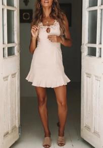 Beige Bow Ruffle Backless Round Neck Fashion Mini Dress