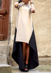 Khaki Color Block Print Irregular High-low Fashion Maxi Dress