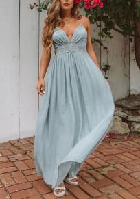 Blaue Spitze Plissee Spaghettiträger V-Ausschnitt Rückenfreies Maxikleid Sommerkleid Abendkleid Lang