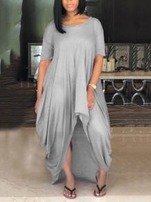 Grey Draped Ruched Irregular High-Low Beachwear Casual Going out Maxi Dress