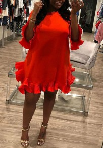 Red Draped Ruffle Irregular Cut Out Buttons Bell Sleeve Cute Party Mini Dress