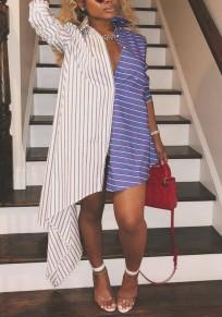 White-Blue Striped Single Breasted Draped Irregular Deep V-neck Casual Midi Dress
