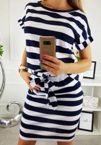 Blaue Weiß Gestreifte Schleife Gürtel Taschen Rundhals Kurzarm Beiläufige Kuschel Minikleid T-shirt Kleid