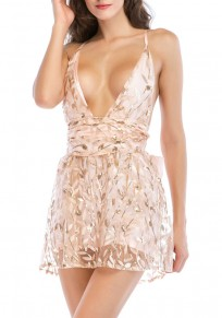 Champagne Floral Sequin Cross Back Bow Plunging Neckline Fashion Mini Dress