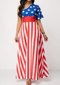 Blue American Flag Print Draped High Waisted Oblique Shoulder Independence Day Casual Maxi Dress