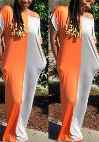 Orange Silver Color Block Print Draped Off Shoulder Short Sleeve Casual Maxi Dress