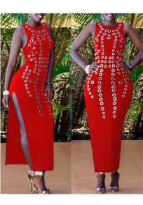 Red Cut Out Side Slit Bodycon Round Neck Clubwear Party Maxi Dress