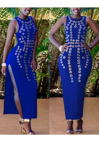 Sapphire Blue Cut Out Side Slit Bodycon Round Neck Clubwear Party Maxi Dress