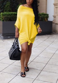Yellow Pleated Knot Off Shoulder Going out Party Mini Dress