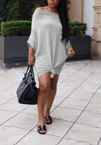 Grey Pleated Knot Off Shoulder Going out Party Mini Dress
