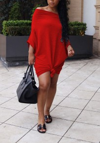 Red Pleated Knot Off Shoulder Going out Party Mini Dress