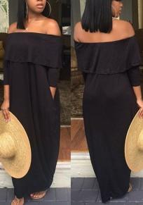 Black Ruffle Pockets Draped Off Shoulder Casual Beachwear Bohemian Party Maxi Dress