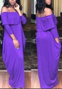 Purple Ruffle Ruffle Pockets Draped Off Shoulder Beachwear Bohemian Party Maxi Dress