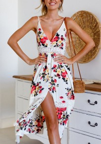 White Floral Single Breasted Spaghetti Strap Backless Maxi Dresse