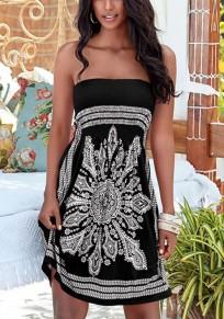Mini abito girocollo con motivo floreale A fascia stampato nero