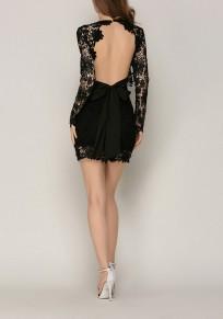 Robe courte en dentelle dos nu v-cou moulante mode de cocktail noir